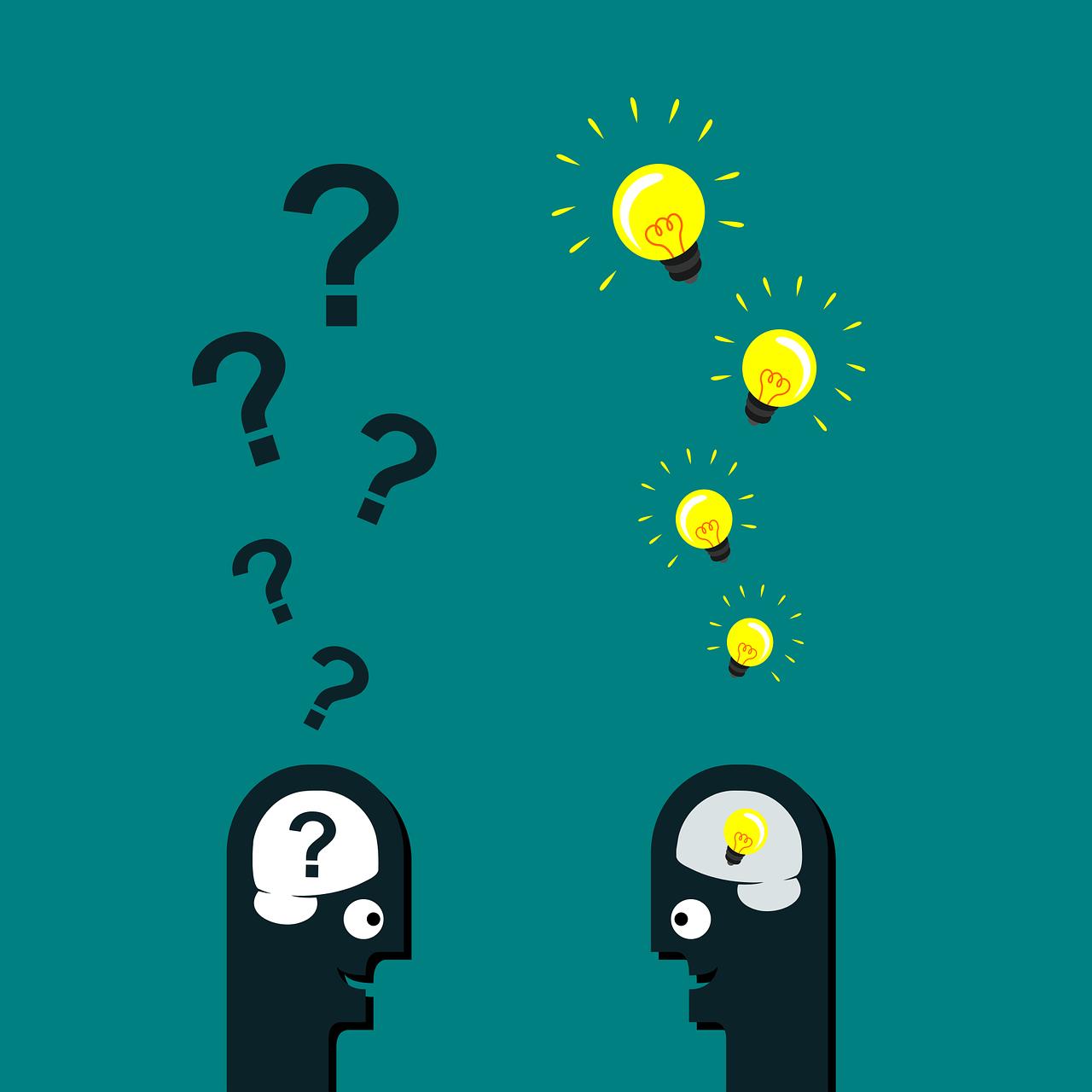 Interrogación bombilla pensamiento pensar