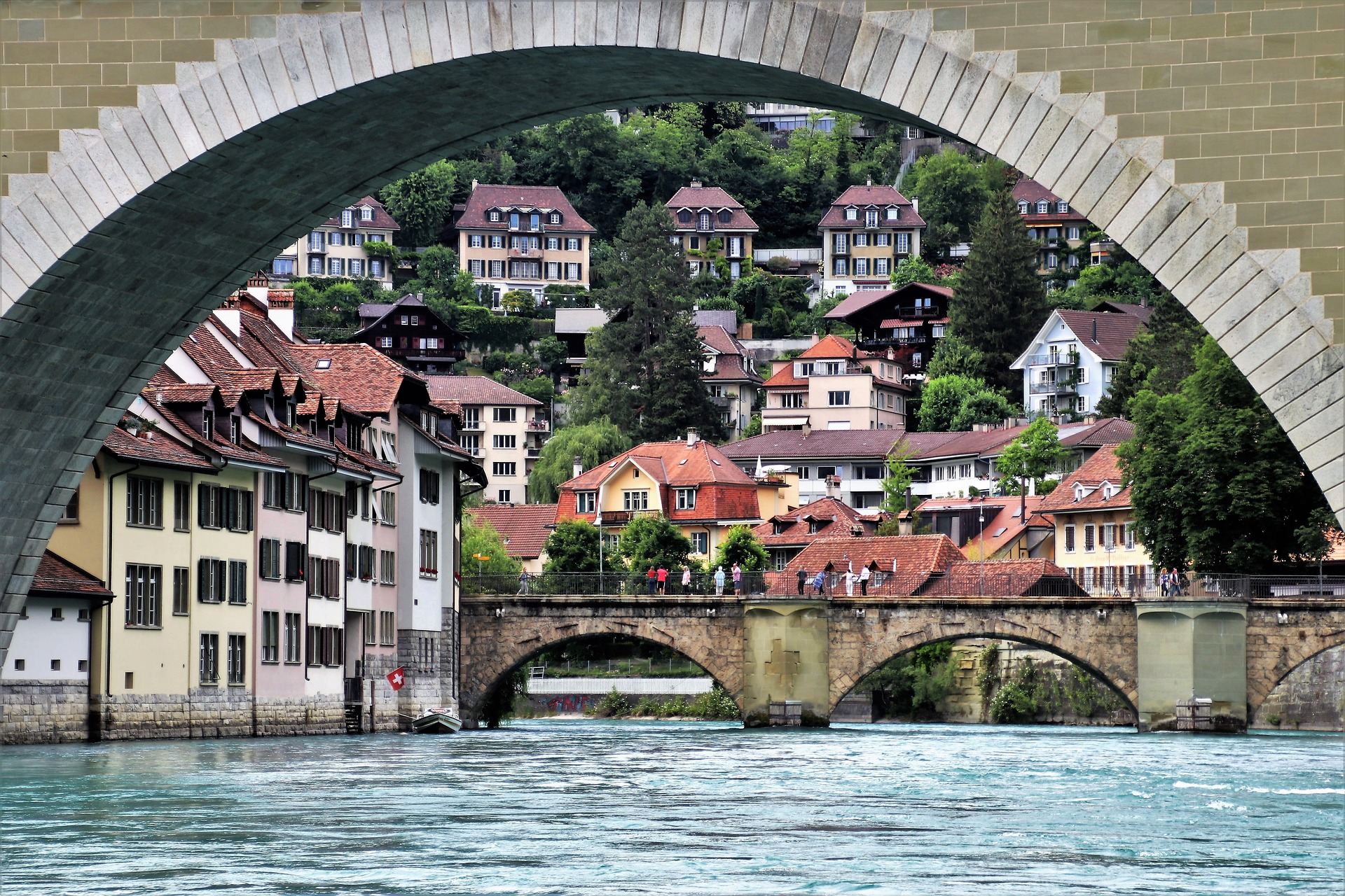 Berna, Suiza, puente, rio