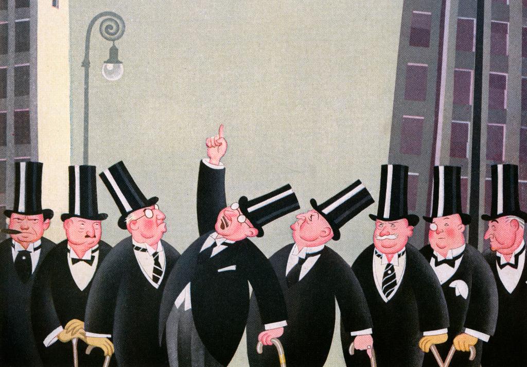 Ilustración antigua de un grupo de hombres ricos con sombreros de copa en Wall Street, 1927. Ilustración: GraphicaArtis/Getty Images