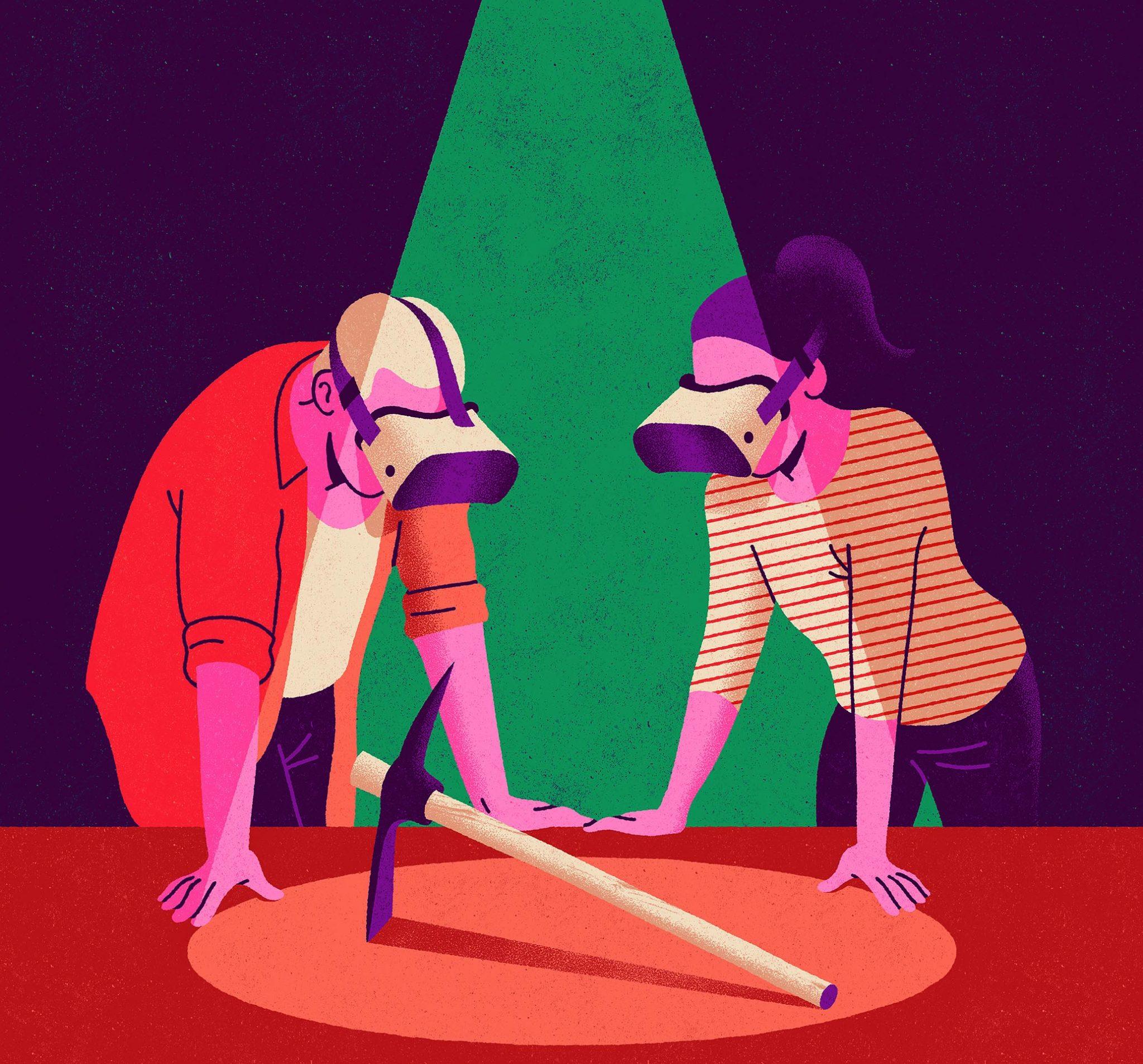 Un chico y una chica con gafas de realidad virtual observan un pico (herramienta). Ilustración: Daniel Diosdado