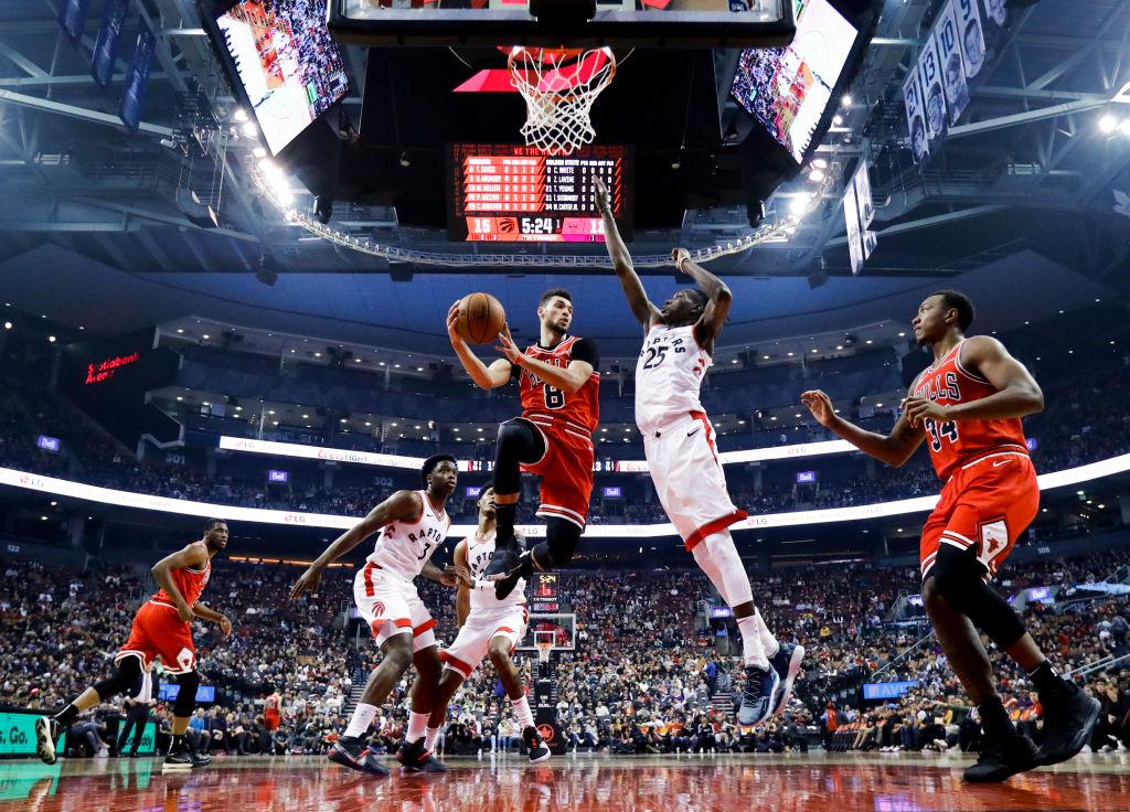 Chicago Bulls vs Toronto Raptors. Partido de pretemporada de baloncesto de la NBA en el Scotiabank Arena el 13 de octubre de 2019 en Toronto (Canadá). Foto de Mark Blinch (Getty Images)