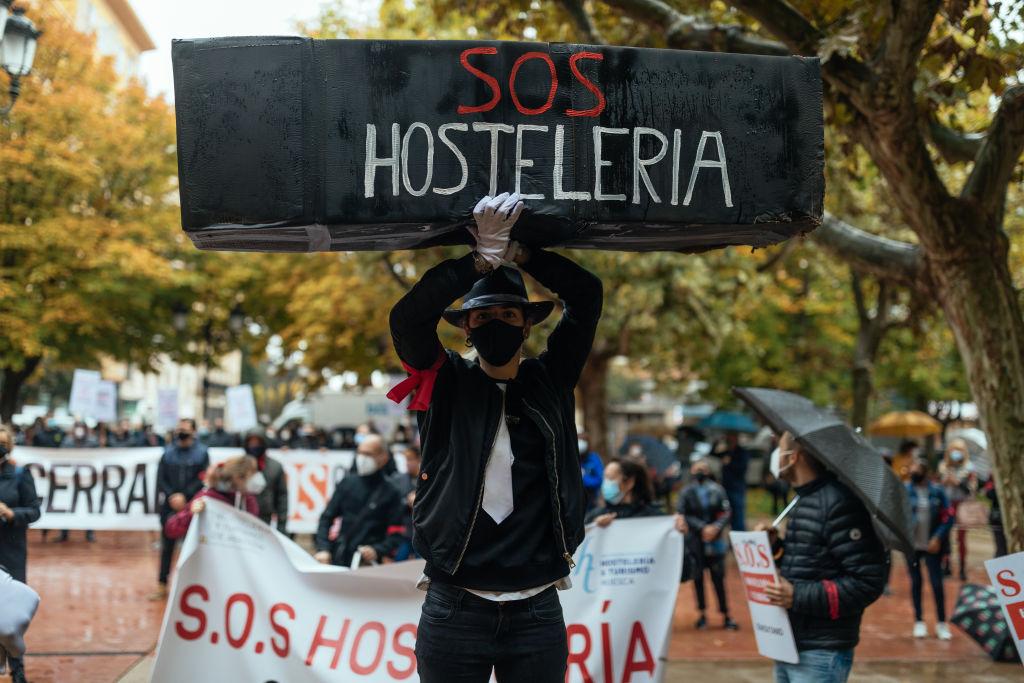 Manifestación para pedir ayudas a la hostelería ante las restricciones del covid-19. Getty.