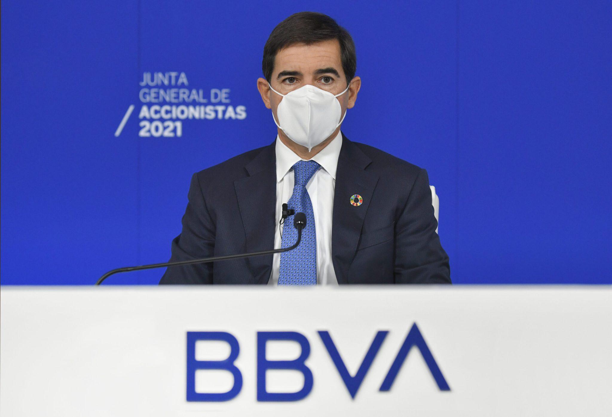 Carlos Torres, presidente de BBVA, durante la Junta General de Accionistas 2021. Foto: BBVA