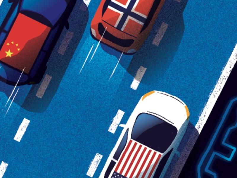 EE UU y China, a la carrera por el oro verde. Ilustración: Xavier Mula