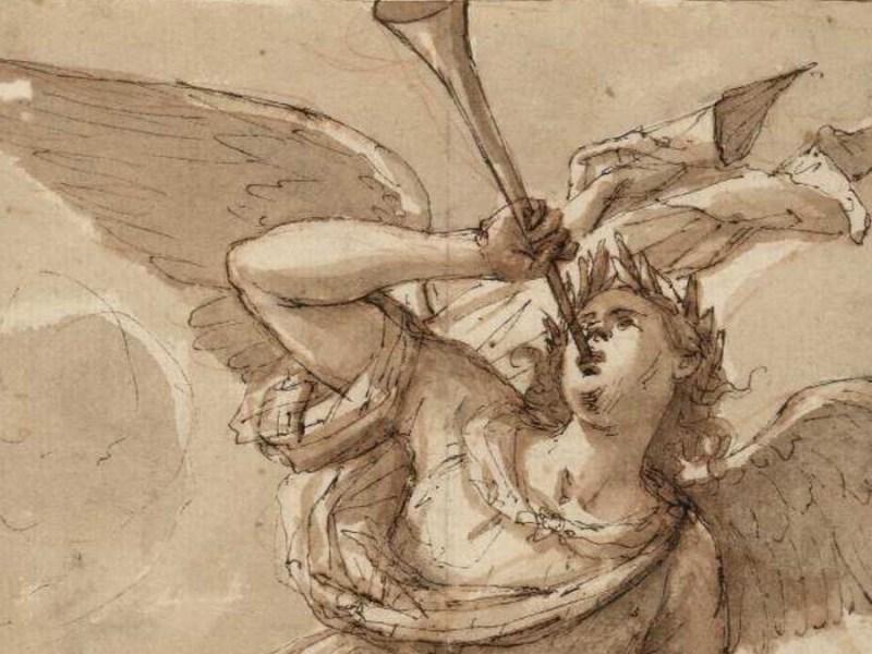 """""""La fama"""", dibujo a pluma de ave atribuido a Francisco de Herrera (1627-1685), que representa a Pheme, la diosa griega de los rumores y la reputación. / Biblioteca Nacional"""
